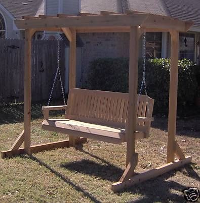 Building plans free standing pergola awning with swing for Bench swing frame plans