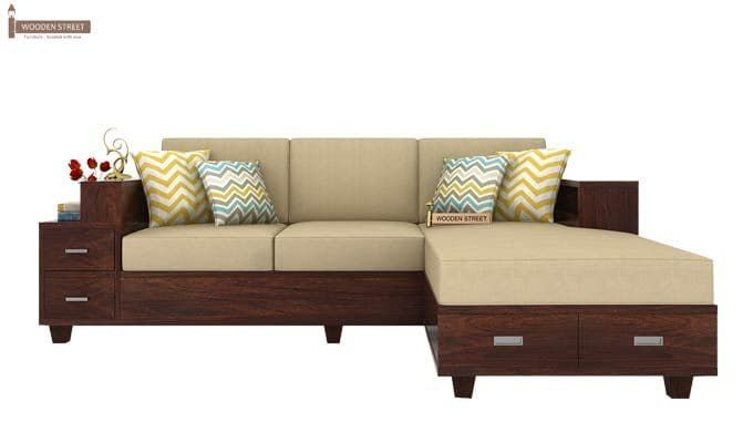 Buy Solace L Shaped Wooden Sofa Walnut Finish Online In India Wooden Street Wooden Sofa Designs Wooden Sofa Set Designs Living Room Sofa Design