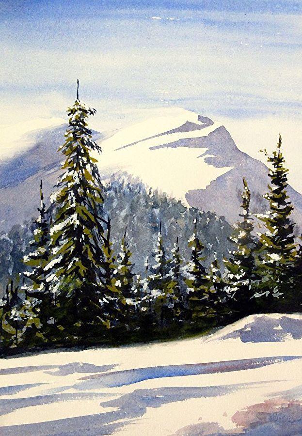 mountain cabin ORIGINAL watercolor winter scene peaceful wall art snowy mountains watercolor winter landscape winter mountains