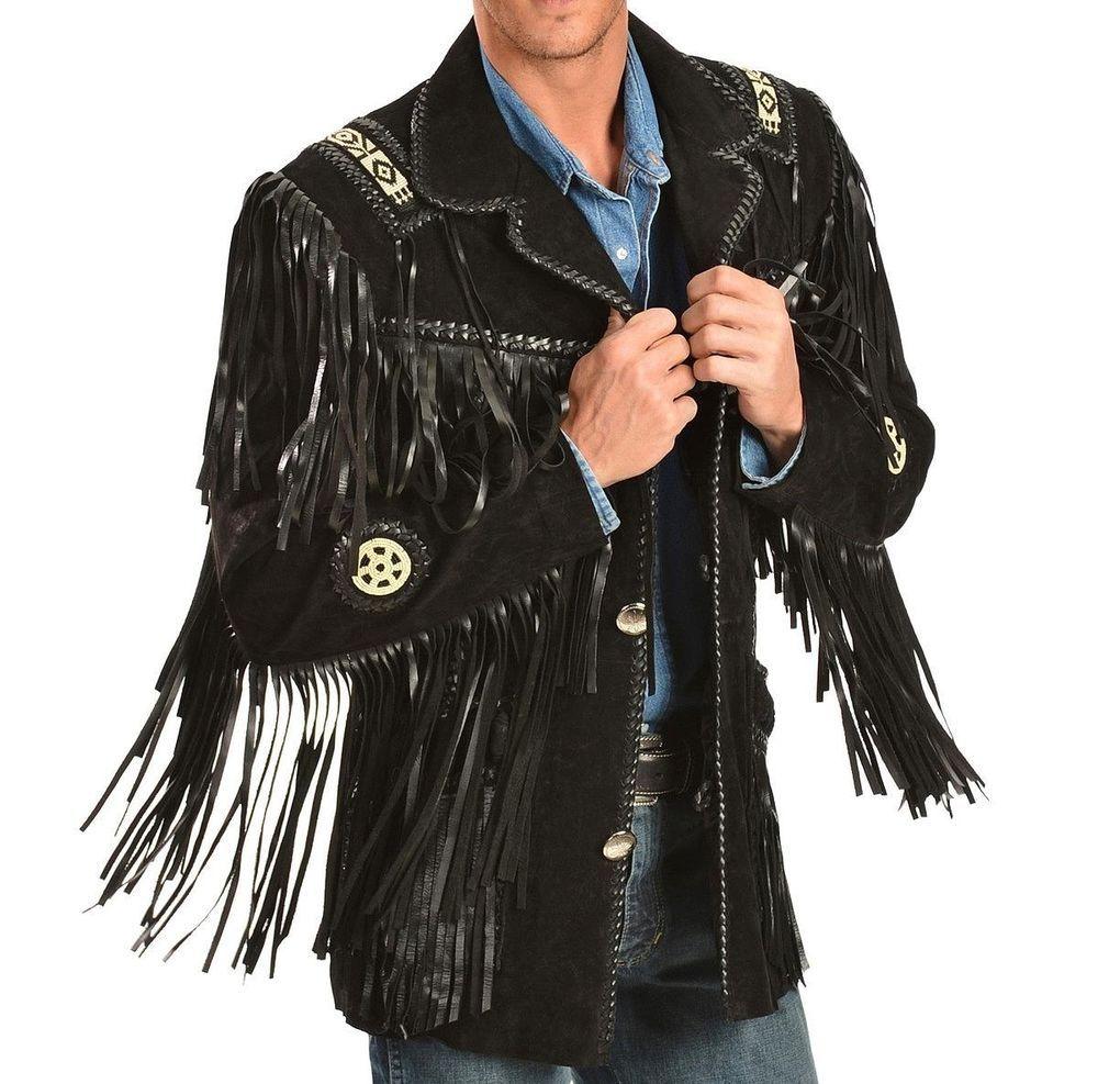 Mens Black Suede Leather Scully Fringed Cowboy Style Western Jacket Coat Leather Jacket Style Western Jacket Mens Leather Coats [ 987 x 1000 Pixel ]
