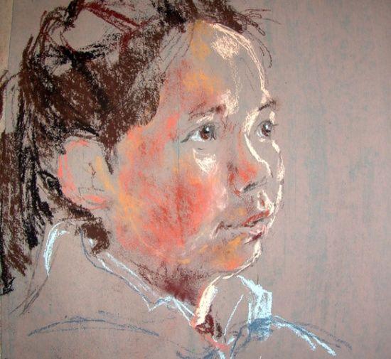 Grřnlandsk pige 20-25 minutters portrćtskitse Pastelkridt pĺ tonet papir