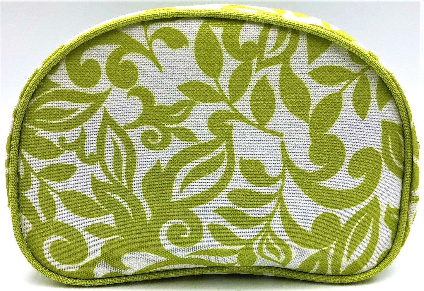 Clinique Flower Lime Green Travel Jewelry Toiletry Cosmetic Zipper