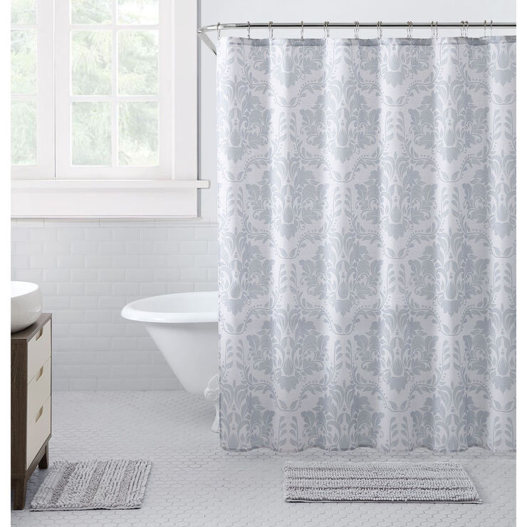 Uptown Grey 15 Piece Shower Curtain And Bath Mat Set In 2020