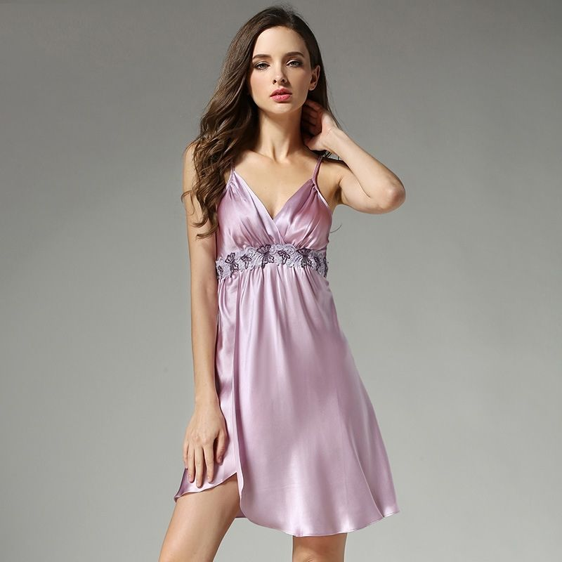 299487bc12 2018 Summer Women Silk Nightgowns Sexy Deep V Lace Nightdress Mulberry Silk  Sleepshirts Sleeveless Silk Sleepwear