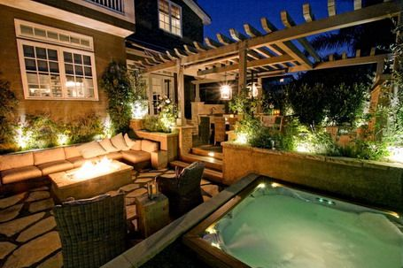 Patio Designs With Fire Pit And Hot Tub