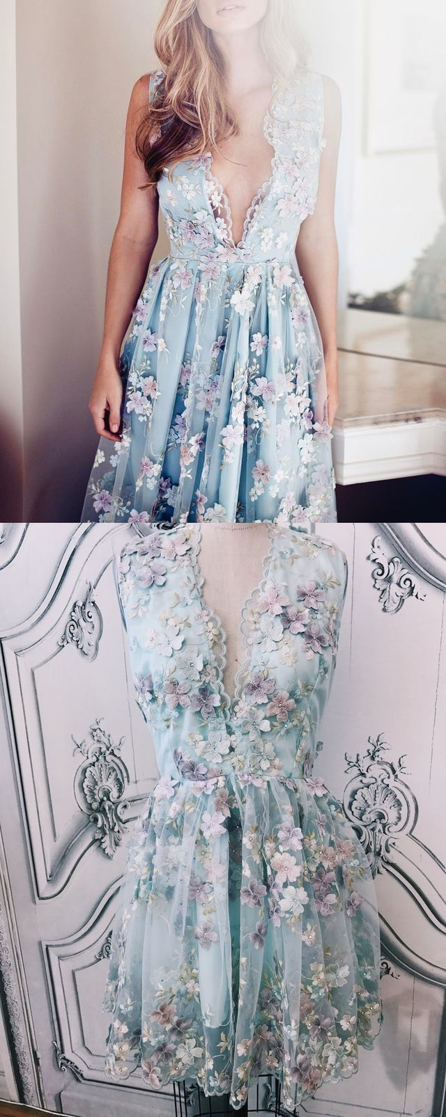 Deep v neck short homecoming dress with appliques from dressydances