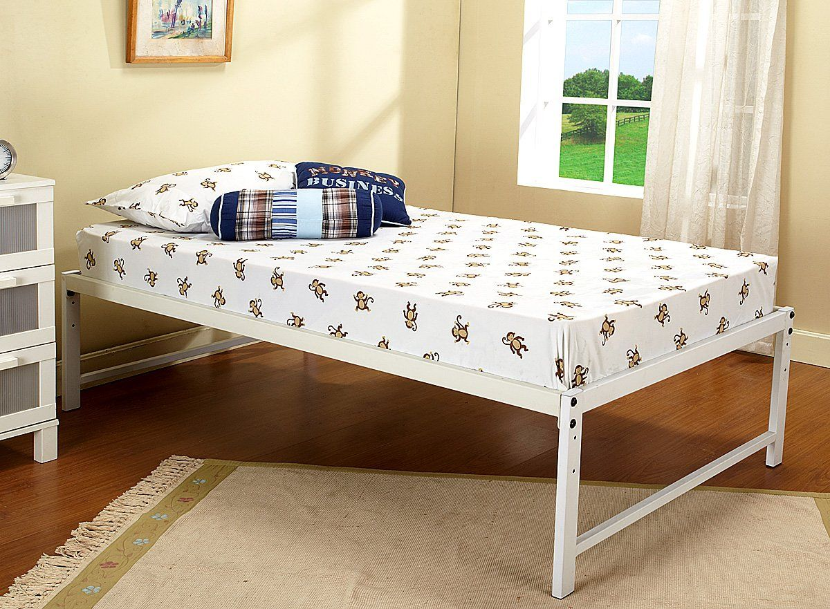 kings brand furniture white metal twin size platform bed frame