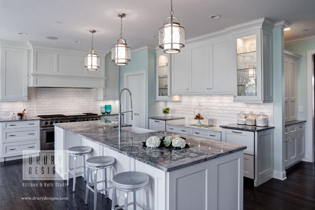 Traditional Kitchen Granite Countertops Kitchen Traditional Kitchen Design Light Grey Kitchens White kitchen island with granite top