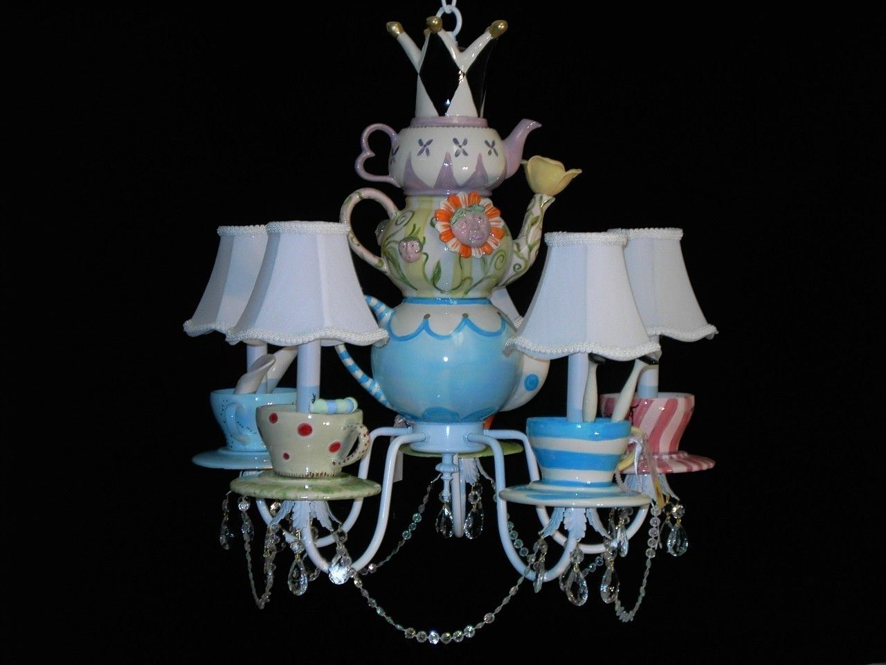 Whimsical alice in wonderland mad hatter tea party chandelier whimsical alice in wonderland mad hatter tea party chandelier 42500 via etsy arubaitofo Choice Image