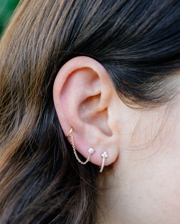 16G Earrings For Women Tourmaline Cartilage Earring Baguette Tourmaline Helix Earring Helix Earring Lobe Piercing