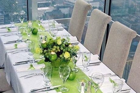 green fruit centerpiece ( apples & grapes)Love the all green idea ...