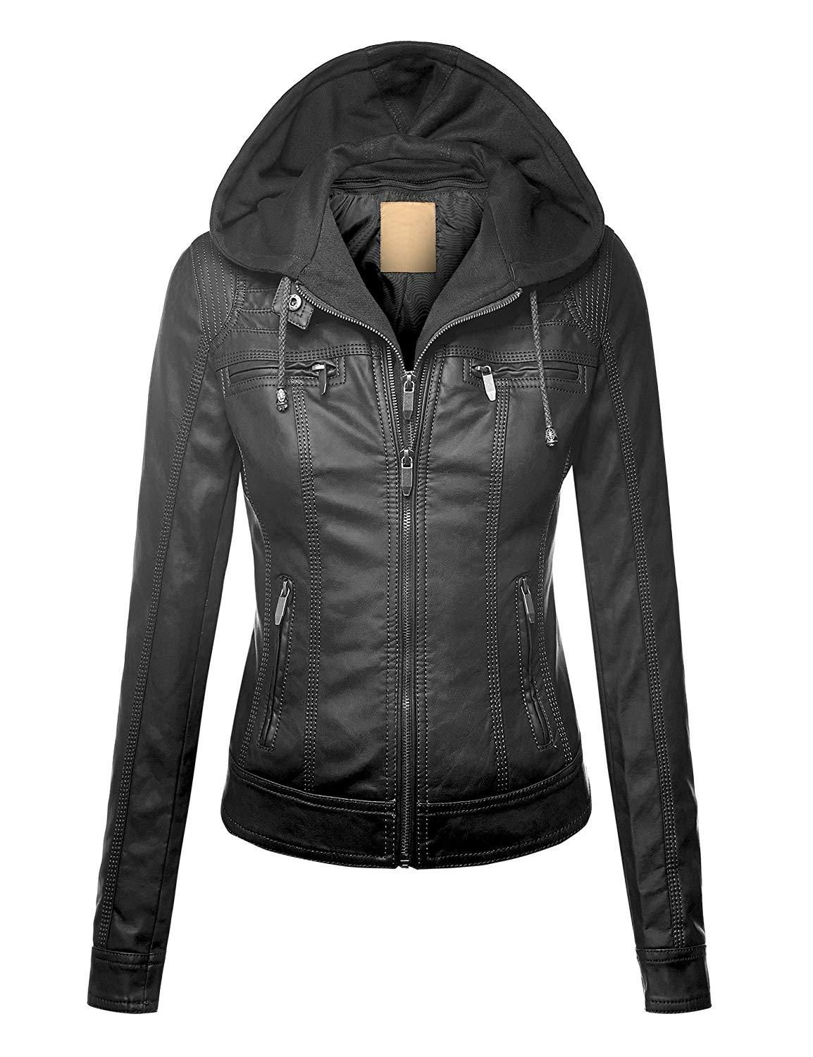 Womens Hooded Faux leather Jacket Leather jacket style