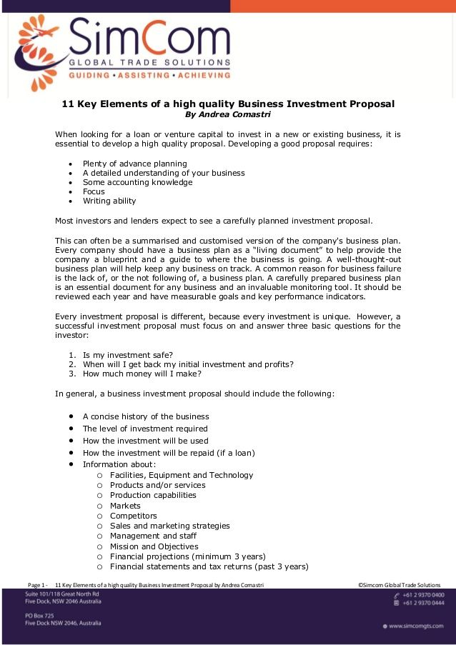 Key Elements Of A High Quality Business Investment Proposal