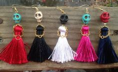 Photo of Items similar to Dress to Kill Sugar Skull Earrings with a Little Dress and Little Hands Made of Metal Chain, Day of the Dead, High Fashion earrings on Etsy