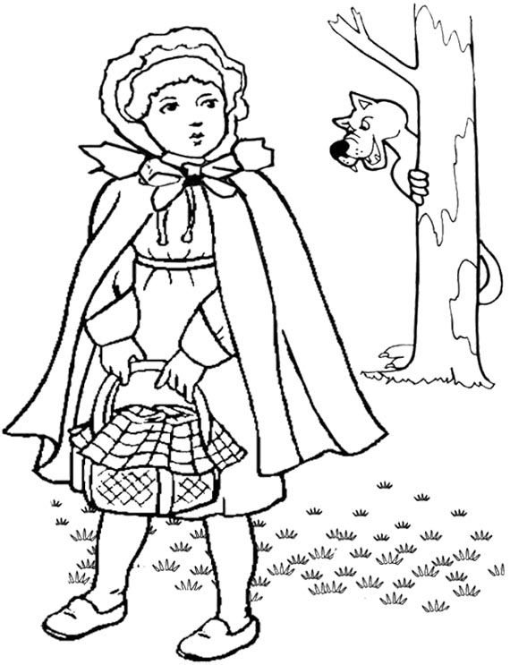 little red riding hood brings the basket coloring pages