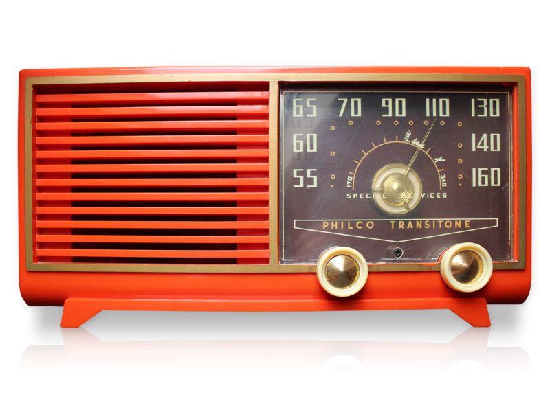 Vintage Radio Philco Transitone In Atomic Orange Vintage Radio Radio Antique Radio