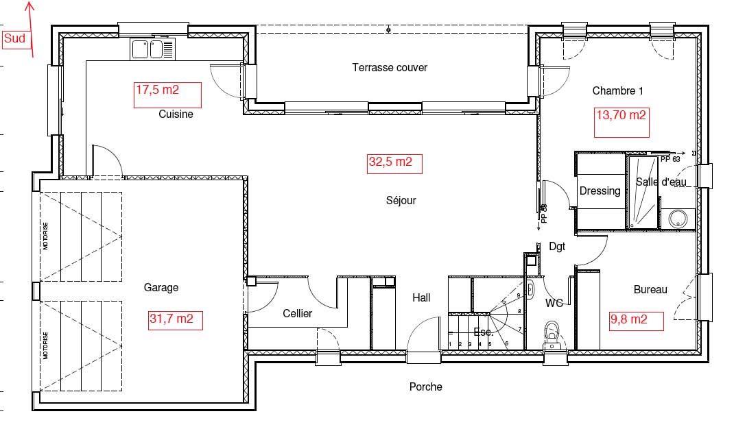 Plan Maison En L Avec Etage Partiel  Maison    Plans