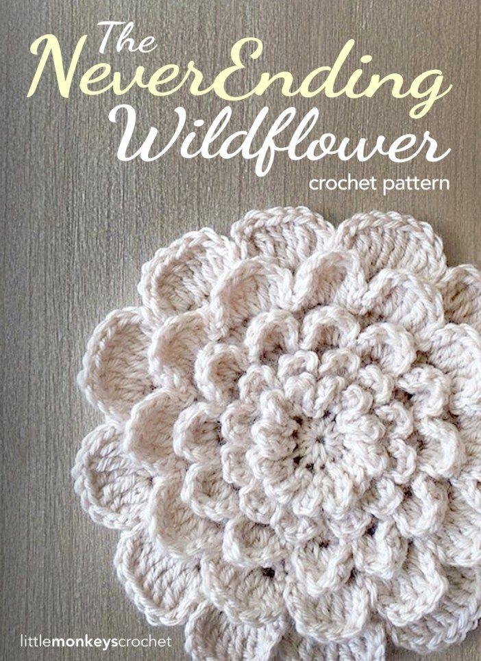 The Never Ending Wildflower Crochet Pattern     Free Crochet Pattern by Little Monkeys Crochet (www.littlemonkeyscrochet.com)