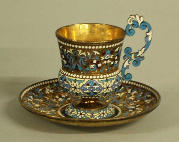 RUSSIAN SILVER GILT AND ENAMEL CUP AND SAUCER 1896-1908