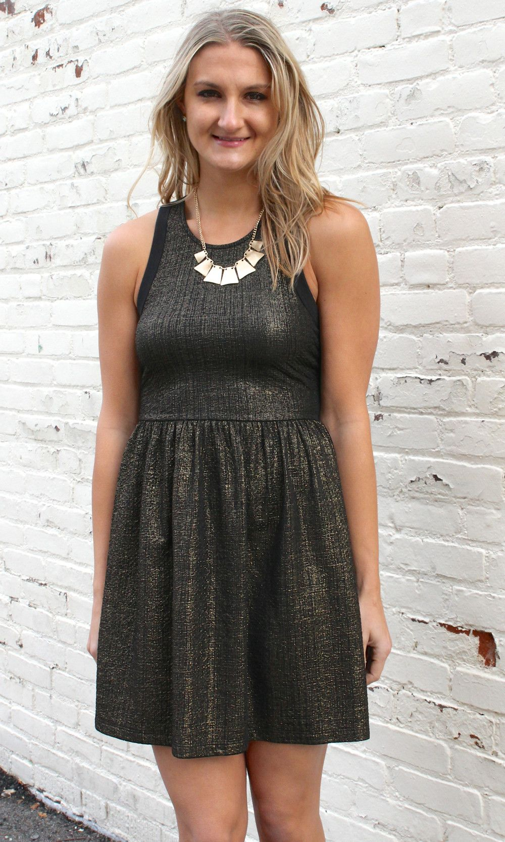 Holiday darling metallic fit and flare dress goldblack products