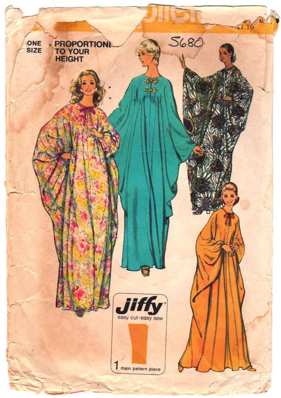 Simplicity 5680 1970s Misses Easy CAFTAN Pattern Proportioned in ...