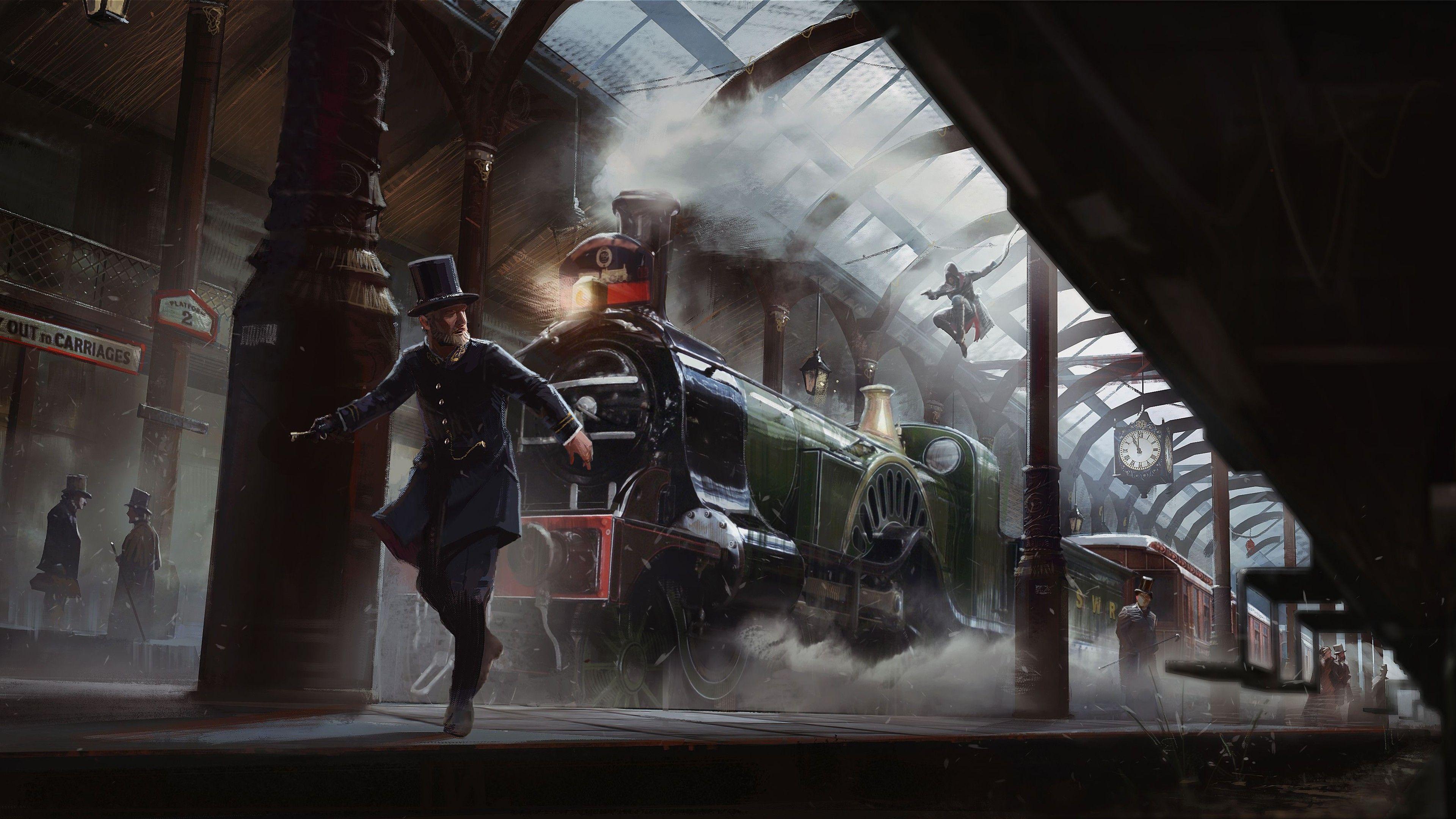 Download Assassins Creed Syndicate 4k Wallpaper Art Train