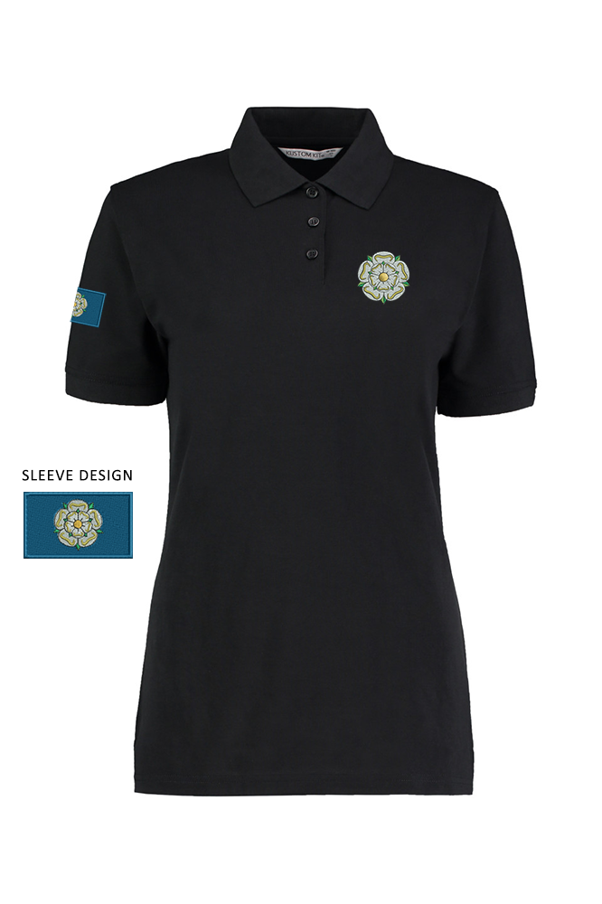 6b980cf4 Black Ladies polo shirt with a Yorkshire Rose embroidered on the left  breast and the Yorkshire Flag on the right arm. Also available in: Light  Blue, Lime, ...