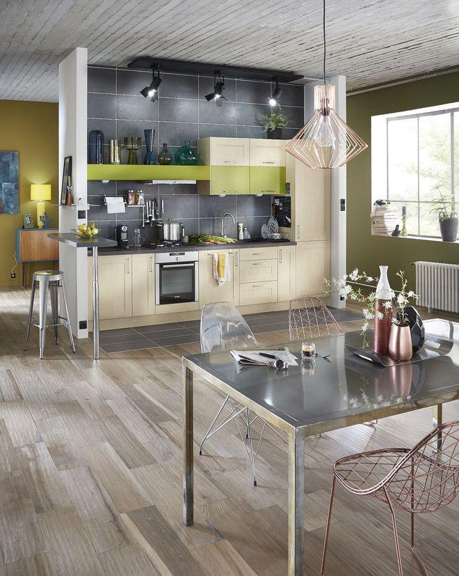 Un carrelage imitation parquet pour cuisine ouverte sur le séjour ...