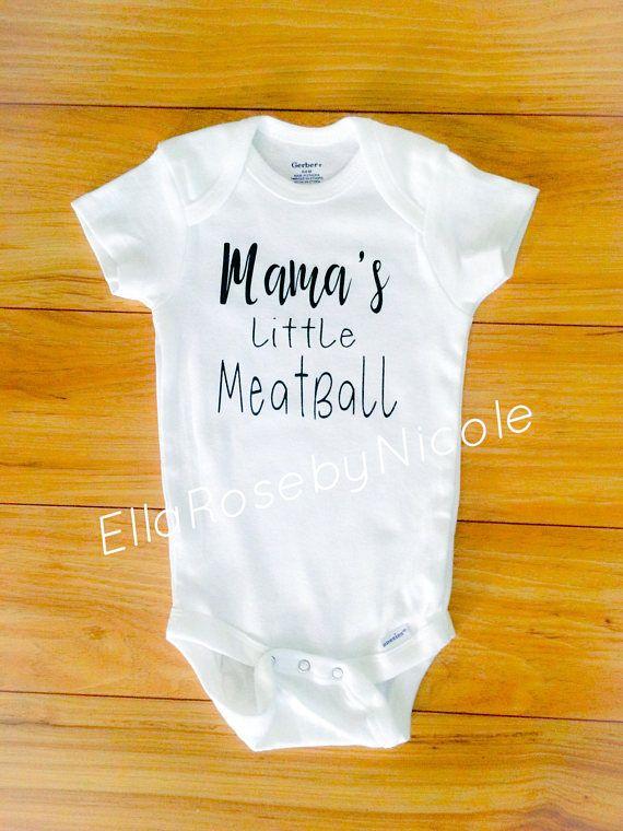 035d8e766 Mama's Little Meatball, Baby Boy Onesie, Baby Bodysuit, Newborn, Baby  Announcement, Italian Baby