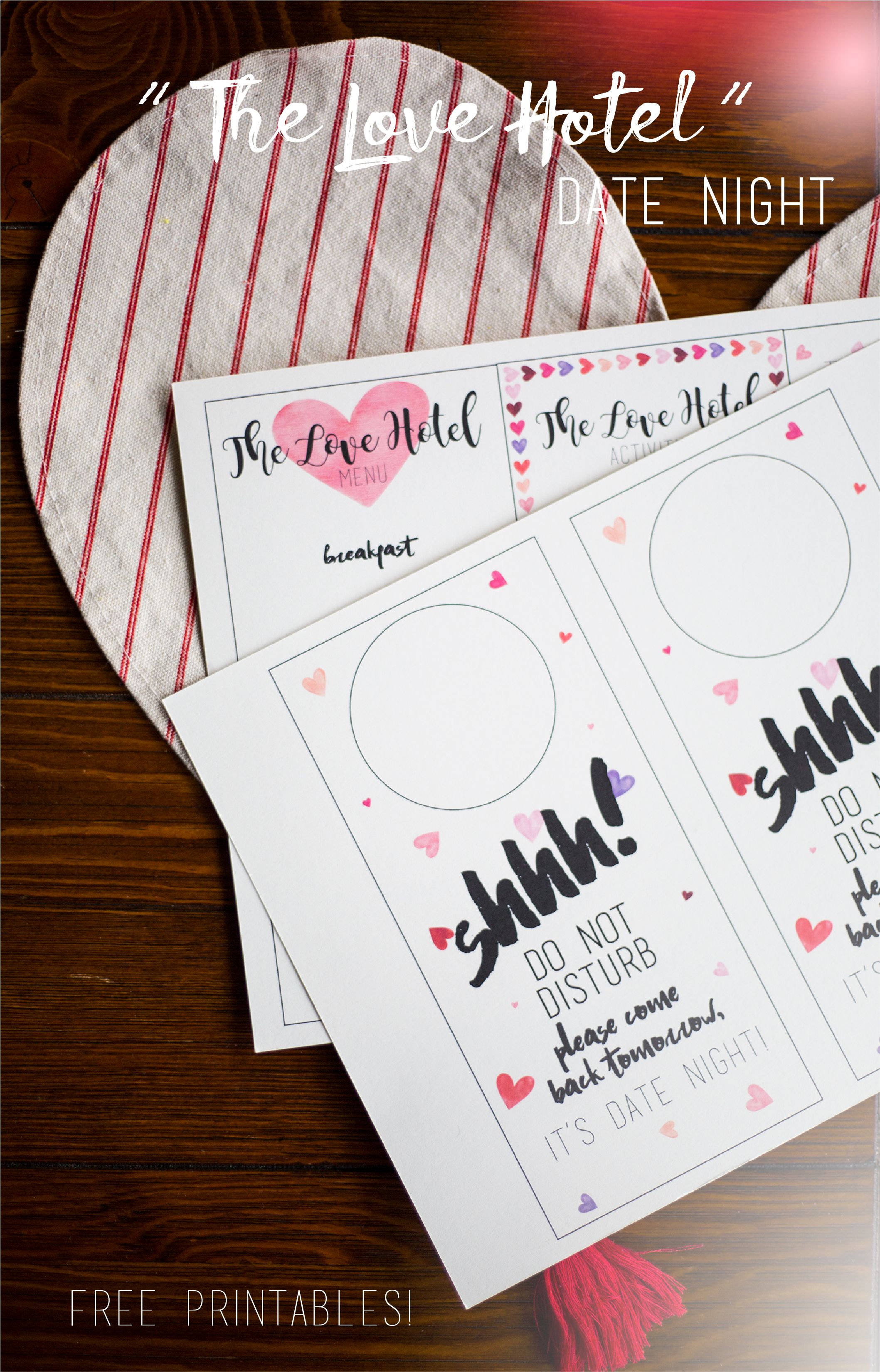 The Love Hotel At home date nights, Printable designs