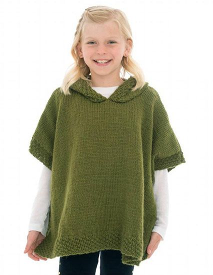 aaadb1aff Craft Passions: Girl's hooded poncho.# free # knitting pattern lin ...