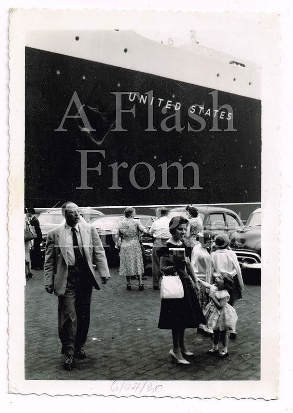 Vintage June Photo Passengers About To Board The SS United - Columbo cruise ship