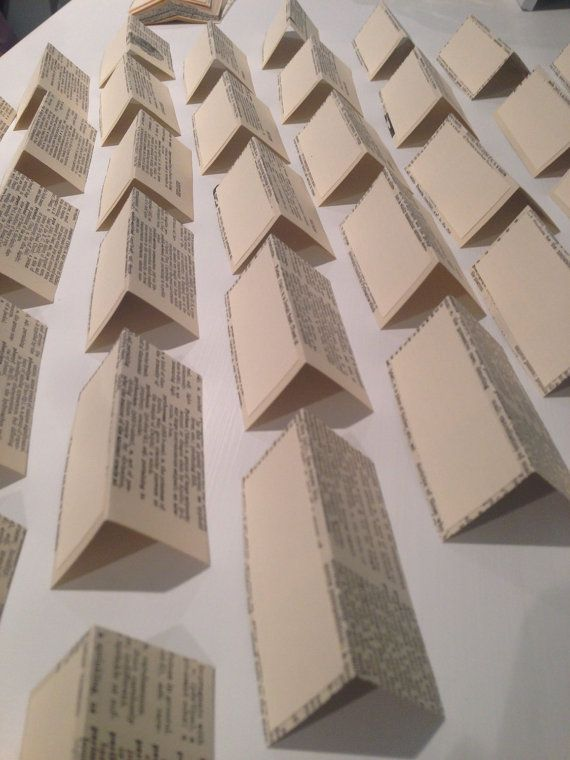 50 Vintage Dictionary Blank Place Cards Wedding by TINEdesigns