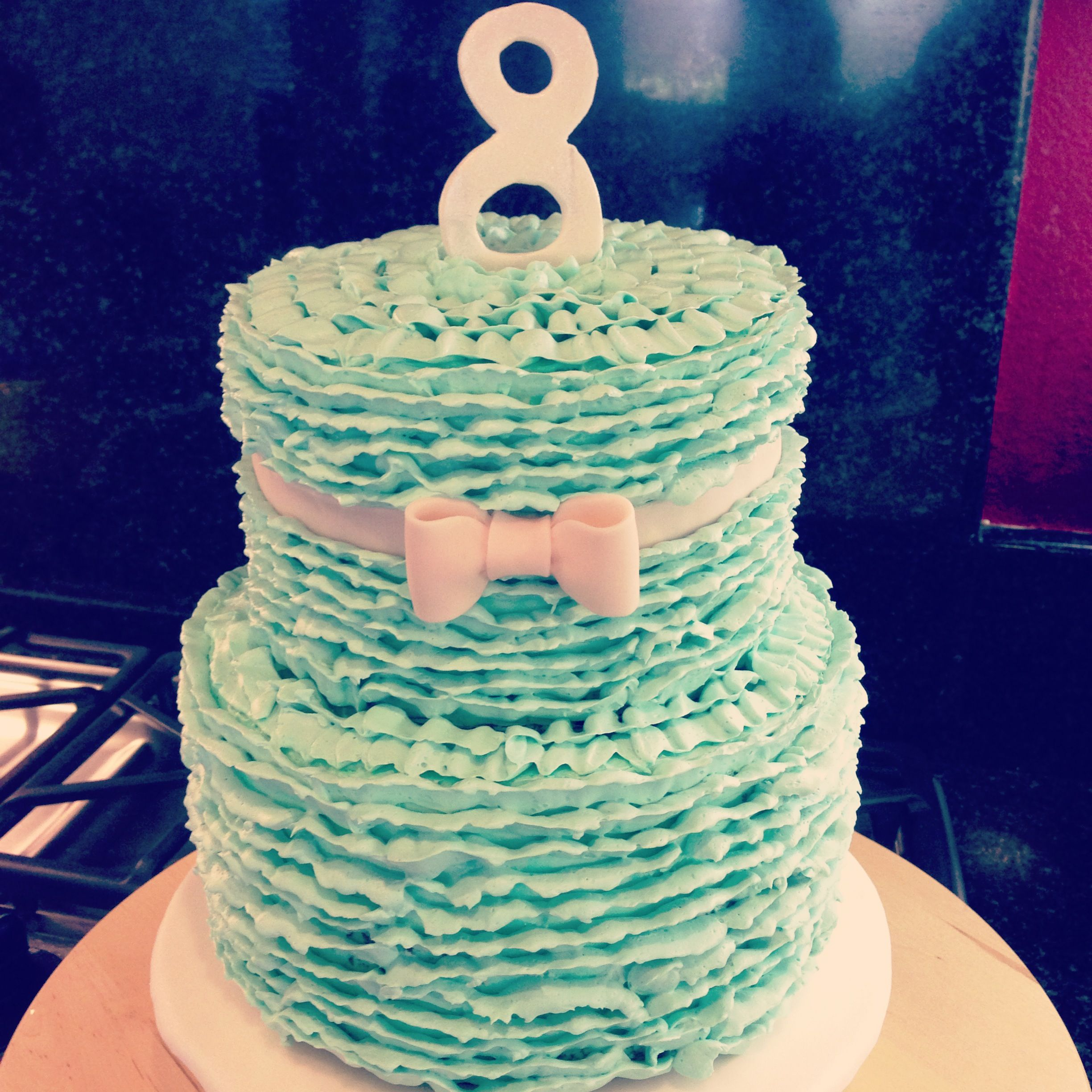 Great to be 8 buttercream ruffle LDS baptism cake | cakes I\'ve made ...