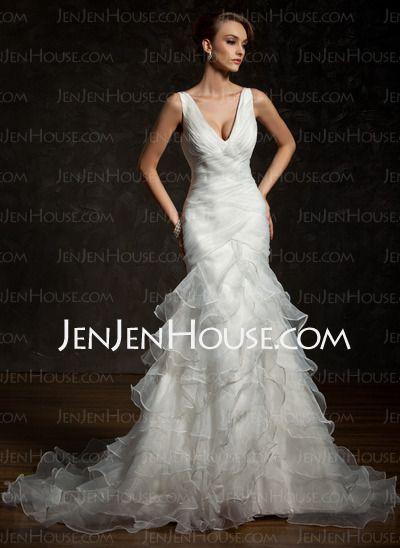 Wedding Dresses - $205.59 - Mermaid V-neck Chapel Train Organza Satin Wedding Dresses With Ruffle (002011678) http://jenjenhouse.com/Mermaid-V-neck-Chapel-Train-Organza-Satin-Wedding-Dresses-With-Ruffle-002011678-g11678