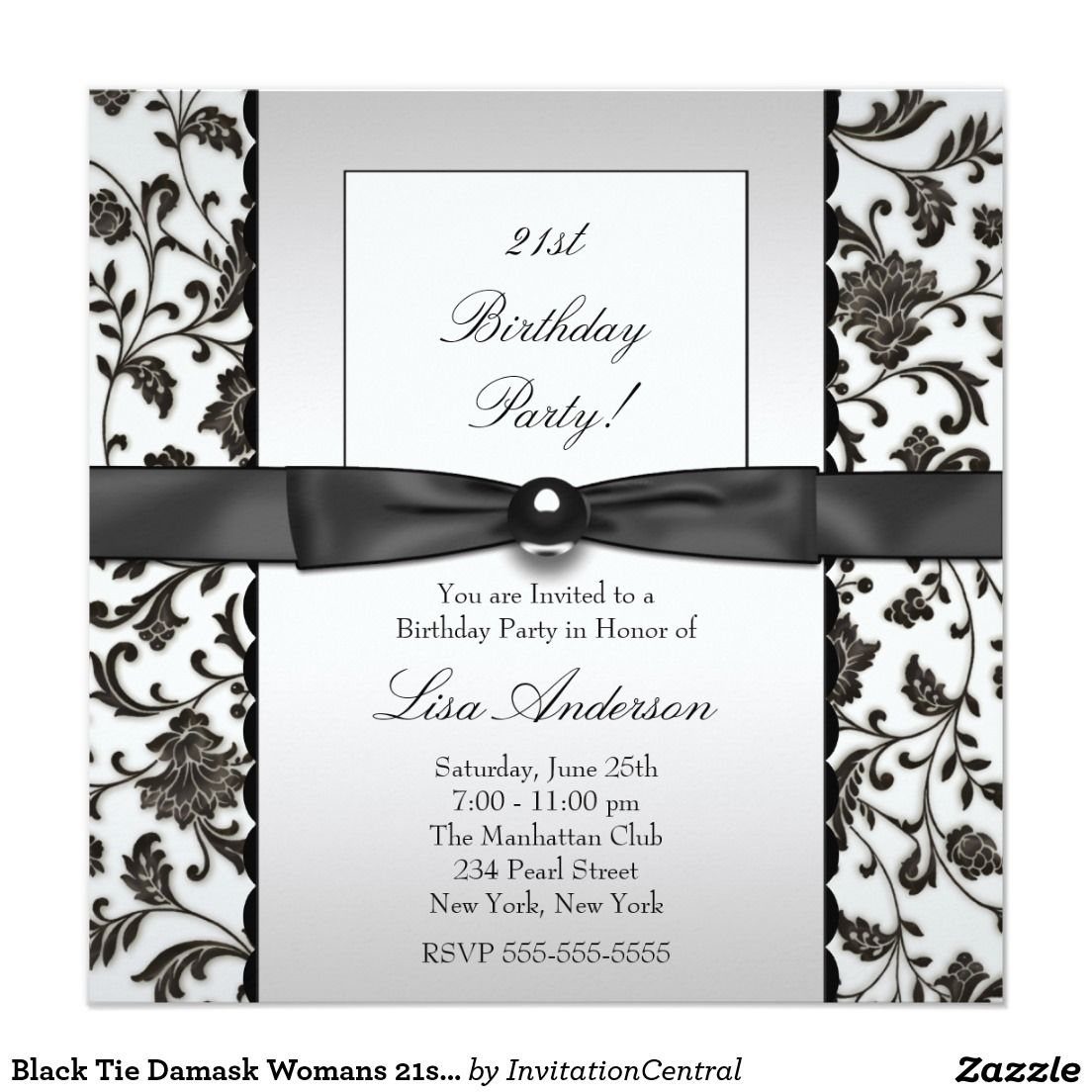 Black Tie Damask Womans 21st Birthday Party Invitation | 50th ...