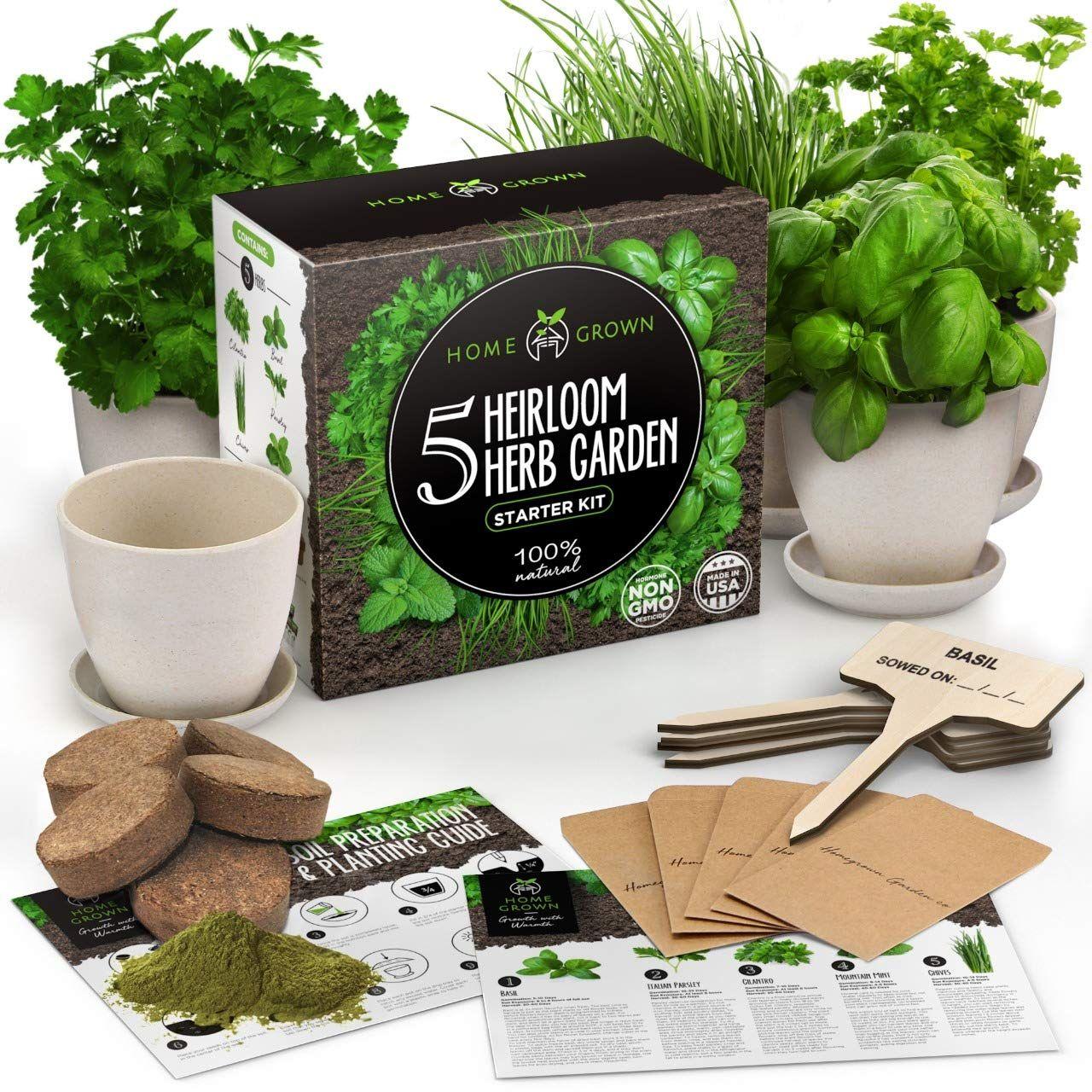 Indoor Herb Garden Starter Kit 5 Herb Seeds Gardening Kit With