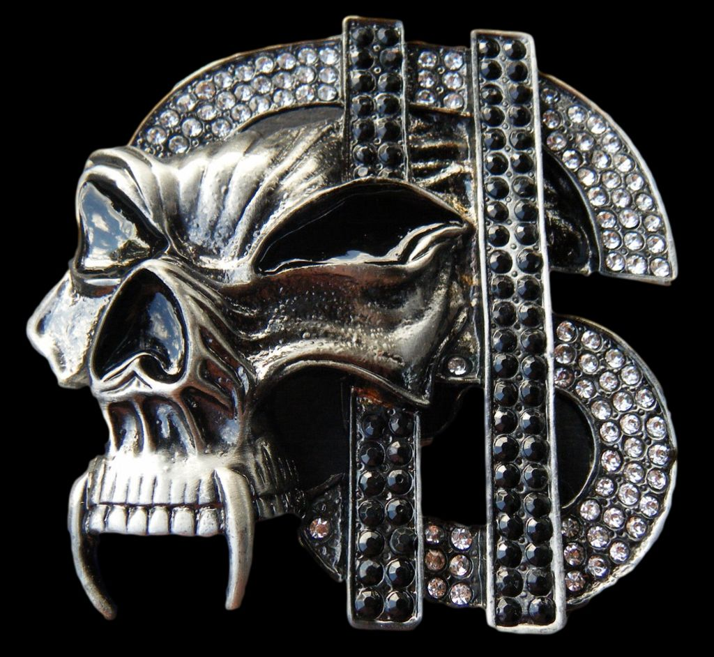 SKULL HEAD SKELETON RHINESTONE DOLLAR SIGN MONEY CASH COOL 3D BELT