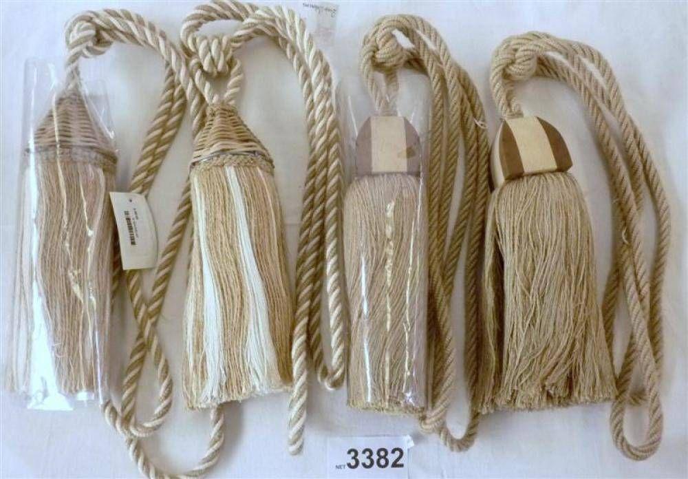 Par de borlas cordão para cortinas, em tons de castanho e bege