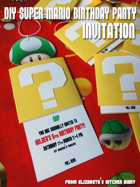 DIY Super Mario Bros Birthday Party Invitation A StepbyStep