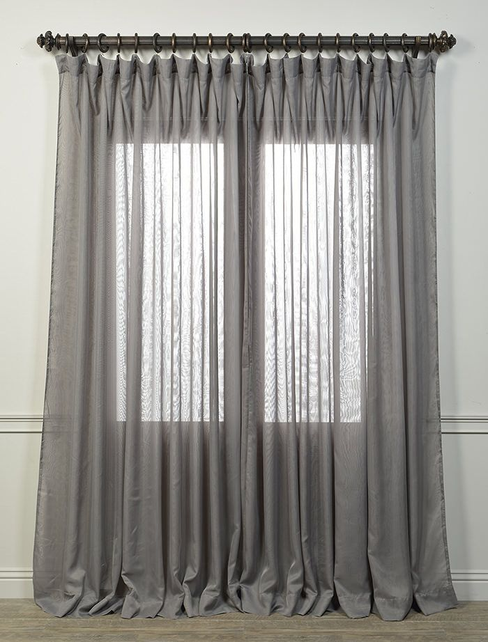 Extra Wide Double Layered Grey Sheer Curtain