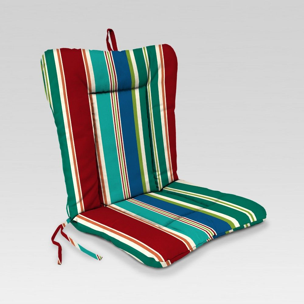 Outdoor Knife Edge Euro Style Dining Chair Cushion Green Red