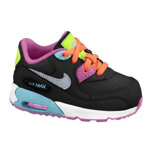 Nike Air Max 90 2007 - Girls' Toddler - Black/Red Violet/Glacier