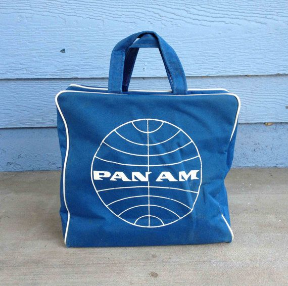Authentic Vintage 60s Pan Am Blue Travel Bag Vinyl