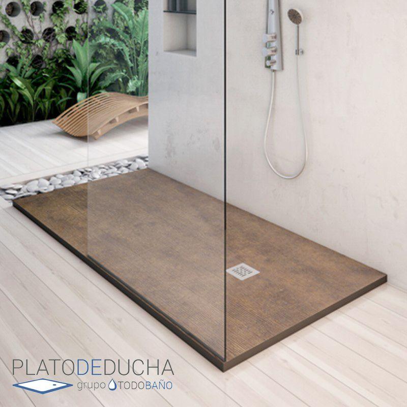 Plato de ducha de resina y carga mineral con textura bamb for Pie de ducha de resina