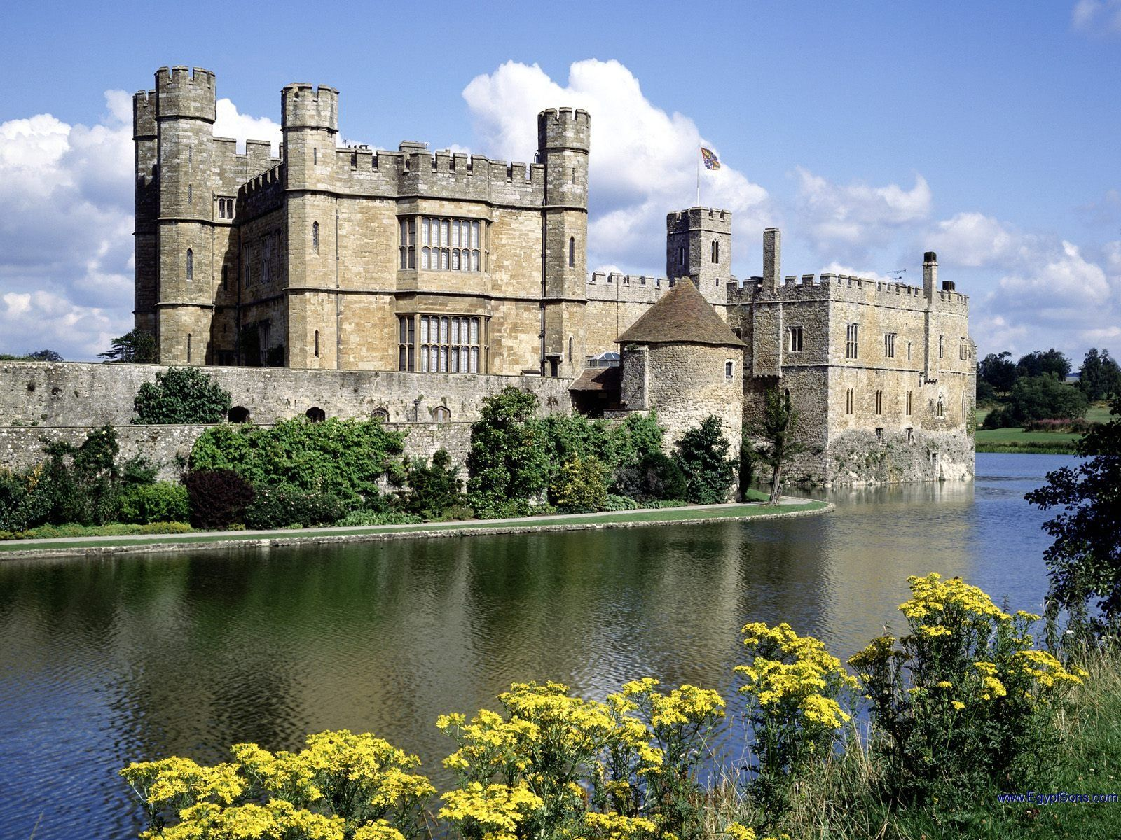 Castles:  Leeds Castle, five miles southeast of Maidstone, Kent, England. Originally a Norman stronghold built in 1119 by Robert de Crevecoeur, the castle was extensively remodeled over the centuries. It now boasts a Tudor style, completed in 1823.