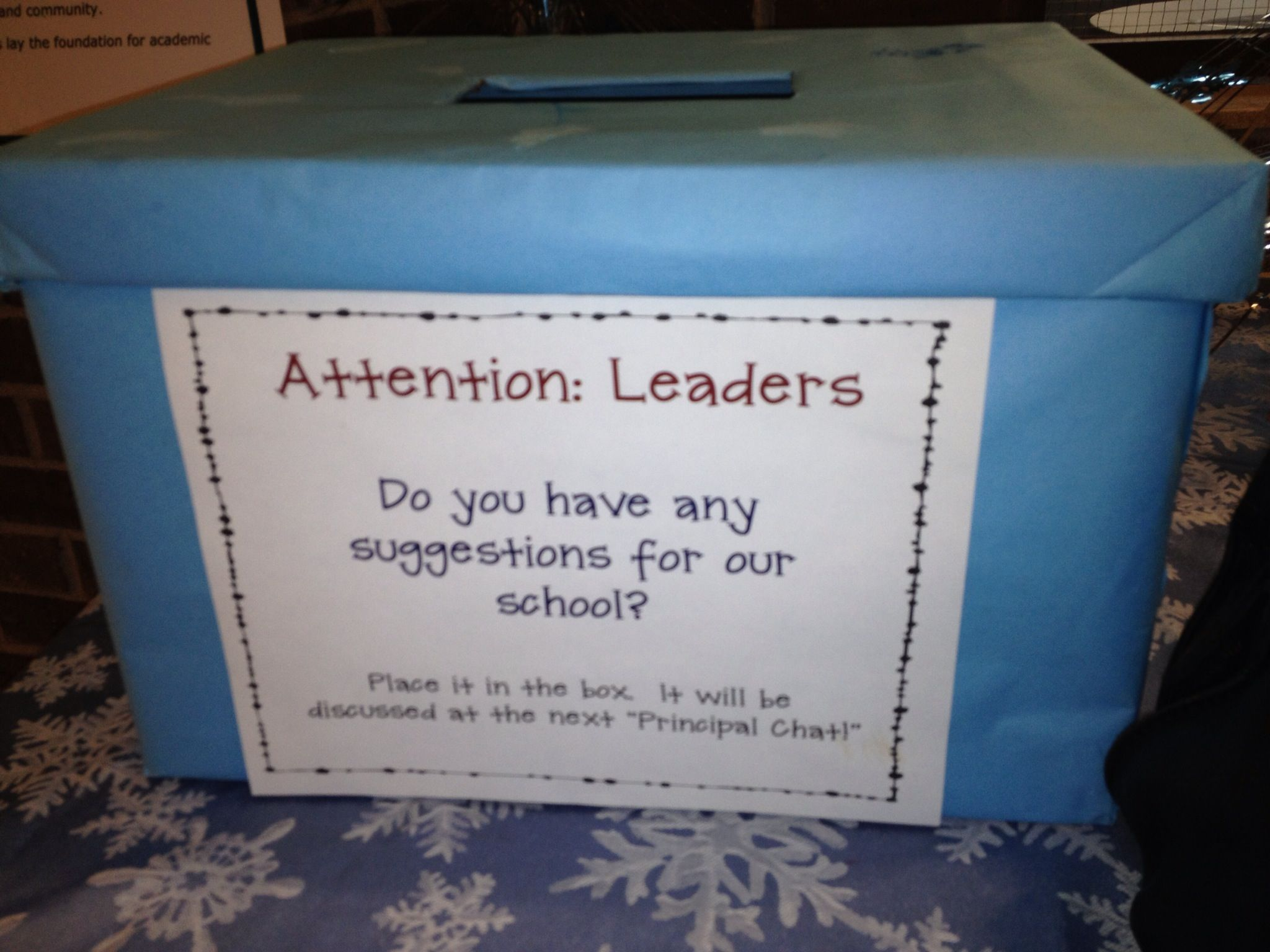 Great Idea Make A Suggestion Box For Your Pto Or Pta To