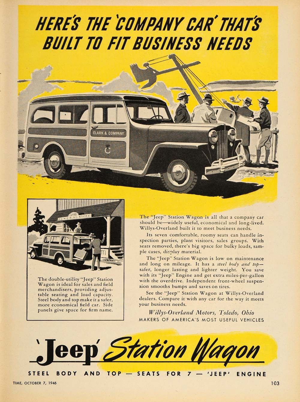 1946 Ad Jeep Station Wagon Willys Overland Toledo Oh Original Advertising Tm1 Willys Station Wagon Jeep
