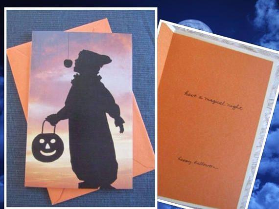 CUTE Vintage HALLOWEEN Greeting Card Silhouette Jack O Lantern