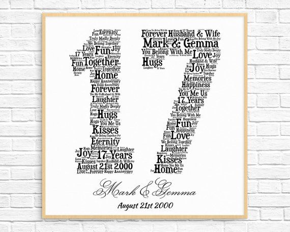 Personalized 17th Anniversary Gift Word Art Printable Art